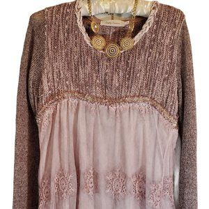 SIMPLY COUTURE Lavender Lace Knit Tunic Small
